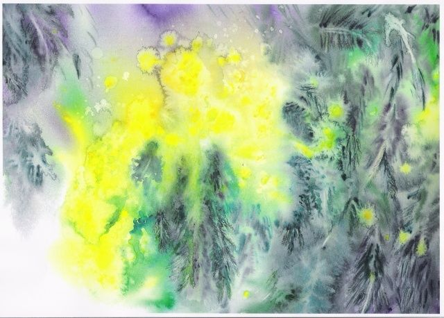 impression mimosa - Painting,  55x45 cm ©2011 by Mijo Chambon -                            Expressionism, mimosa et feuillage