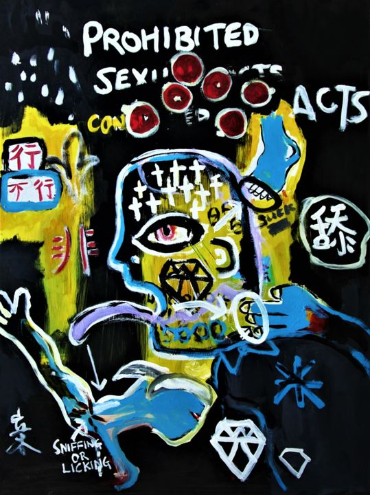 """Painting titled """"Prohibited Sexual A…"""" by Mikael Teo, Original Art, Acrylic"""