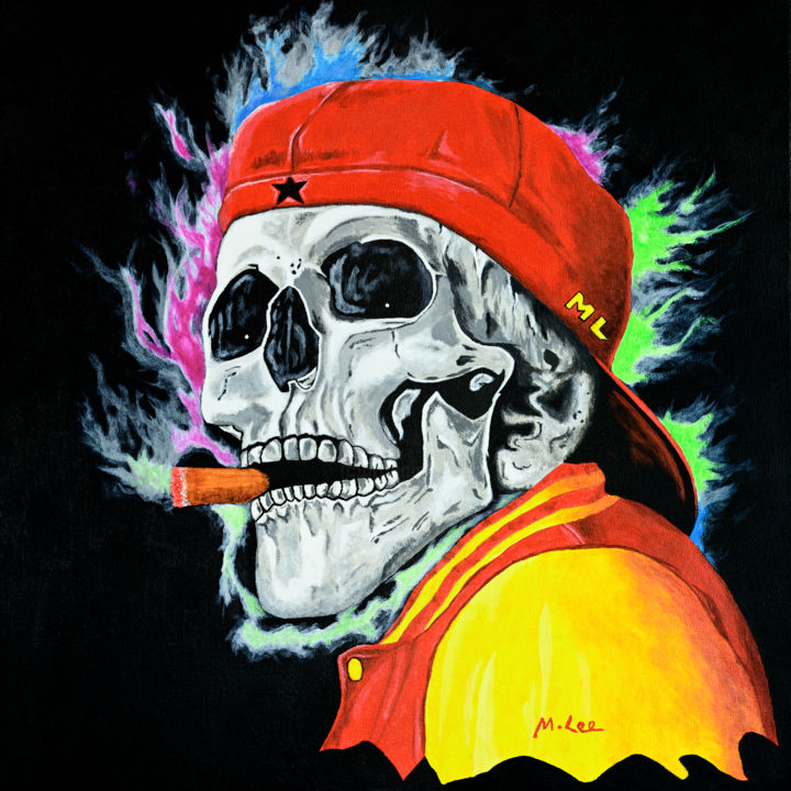 Skull – One last cigar - Painting,  19.7x19.7x0.8 in, ©2020 by Mikey Lee -                                                                                                                                                                                                                                                                                                                                                                                                                                                                                                                                                                                                                                                                                                                                                                                                                                                                  Expressionism, expressionism-591, Dark-Fantasy, Fantasy, Mortality, Sports, Skull, Smoking, Cool, Death, Fun art, Baseball, Cigar, Modern, Mortality, Acrylic painting, Contemporary art, Fantasy art