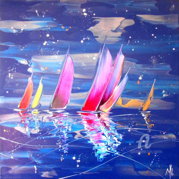 Night regatta 16569 - Painting,  50x50x3 cm ©2017 by Mikha -                                                                                                                                    Abstract Expressionism, Canvas, Boat, Sailboat, Colors, Water, Ships, Seascape, Yacht, Mikha, Artmikha, régate, voiliers, sailing boats, regatta