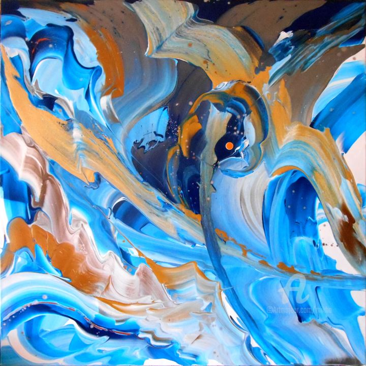 Flying by the waves - ©  Mikha, Artmikha, abstract, Mikhaos, flying the waves, gold & blue, bleu et or Œuvres-d'art en ligne