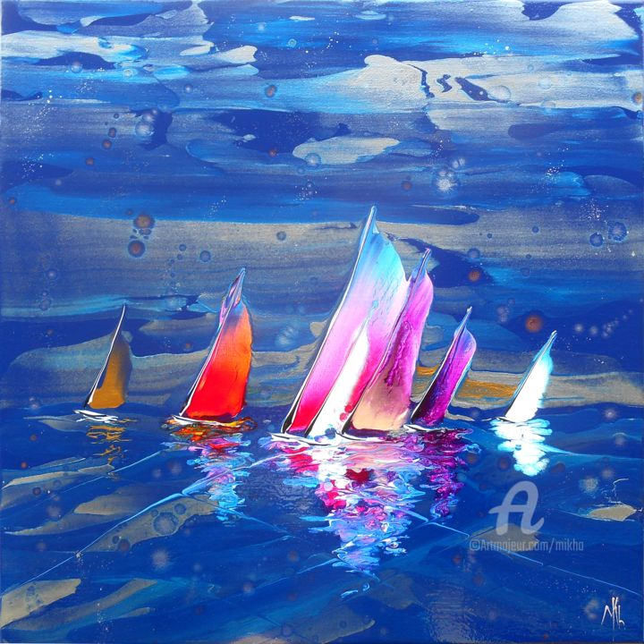 Regatta in blue 16992 - Painting,  60x60x2.5 cm ©2017 by Mikha -                                                                                                                                    Abstract Expressionism, Canvas, Boat, Sailboat, Water, Ships, Seascape, Sports, Yacht, Mikha, Artmikha, Régate, Regatta, sailing boats, blue, voiliers, mer, sea