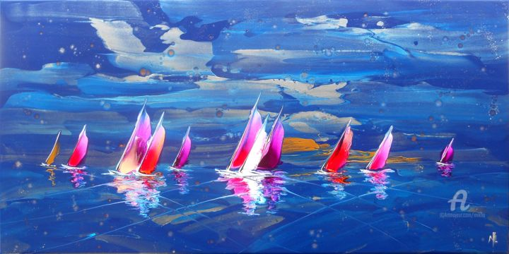 Regatta in blue 16987 - Painting,  50x100x2.5 cm ©2017 by Mikha -                                                                                                                                    Abstract Expressionism, Canvas, Boat, Sailboat, Water, Ships, Seascape, Sports, Yacht, Mikha, Artmikha, regatta, régate, voiliers, sailing boats, mer, sea, bleu