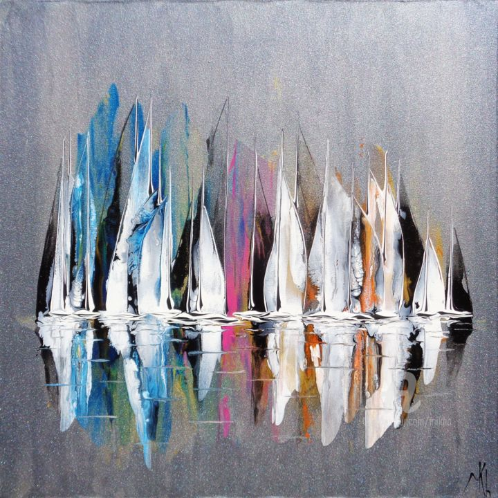 Waiting for the wind - Peinture,  23,6x23,6x1,2 in, ©2019 par Mikha -                                                                                                                                                                                                                                                                                                                                                                                                                                                                                                                                                                                                                                                                                                                              Expressionism, expressionism-591, Bateau à voile, Eau, Navires, Paysage marin, Yacht, Mikha, Artmikha, régate, regatta, sailing boats, voiliers, mer, sea