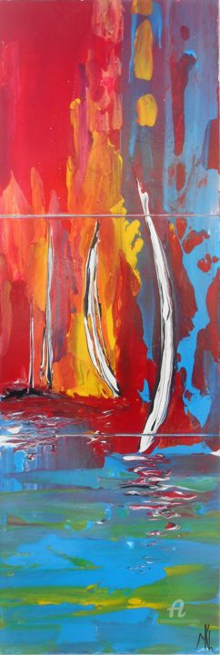 Sailing - Painting,  1x20x60 cm ©2015 by Mikha -                                                                                    Abstract Expressionism, Wood, Sailboat, Ships, Seascape, Mikha, Artmikha, Voiles, Sails, Voiliers, Sailboats, Paysage marin, Seascape