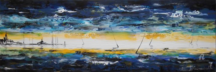 Voiles / Sailing boats - Painting,  3.5x30x90 cm ©2015 by Mikha -                                                                                    Abstract Expressionism, Canvas, Boat, Sailboat, Ships, Mikha, Artmikha, Voiliers, Sailing boats, Marine, Seescape