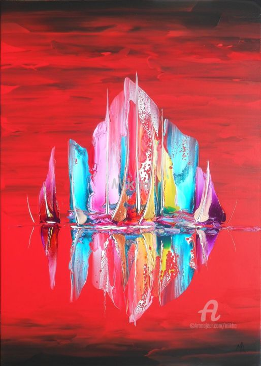 Regatta in red - Painting,  70x50x5 cm ©2016 by Mikha -                                                                                                            Abstract Expressionism, Canvas, Boat, Sailboat, Colors, Ships, Seascape, Mikha, Artmikha, seascape, sailboats, bateaux, voiliers, paysage marin, régate, regatta