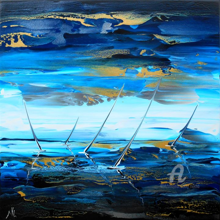 Regatta 16406 - Painting,  40x40x5 cm ©2017 by Mikha -                                                                                                                                                Abstract Art, Abstract Expressionism, Contemporary painting, Canvas, Abstract Art, Boat, Sailboat, Water, Seascape, Yacht, Mikha, Artmikha, marine, regate, regatta, seascape, voiliers, sailing boats