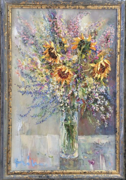 Bouquet with Sunflowers - Painting,  95x62 cm ©2018 by Mikhail Mikora -