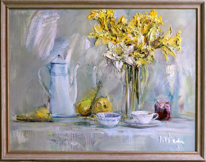 Flowering Daffodil - Painting,  100x75 cm ©2015 by Mikhail Mikora -