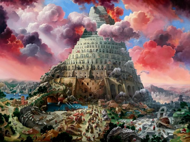 The Tower of Babel. - © 2019 The Tower of Babel., Myths., Landscape., It is famous., Handsomely Online Artworks