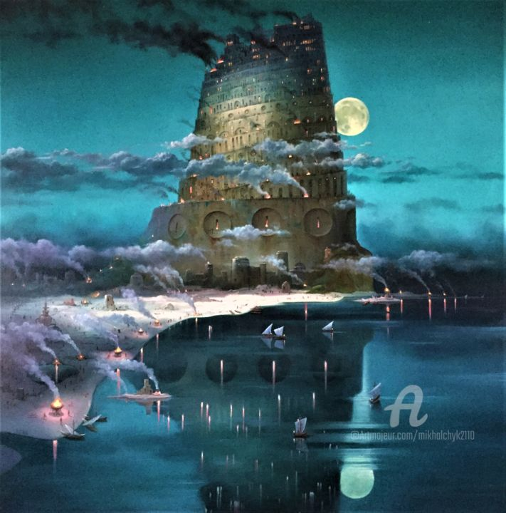 The Night Tower. - Painting,  39.4x39.4x1.2 in, ©2020 by Александр Михальчук -                                                                                                                                                                                                                                                                                                                                                                                                                                                                                                                                                                                                                                      Surrealism, surrealism-627, Architecture, Cityscape, Boat, Sailboat, Fantasy, The Night Tower., Night., Sea., Moon., Bonfires., Mystic.