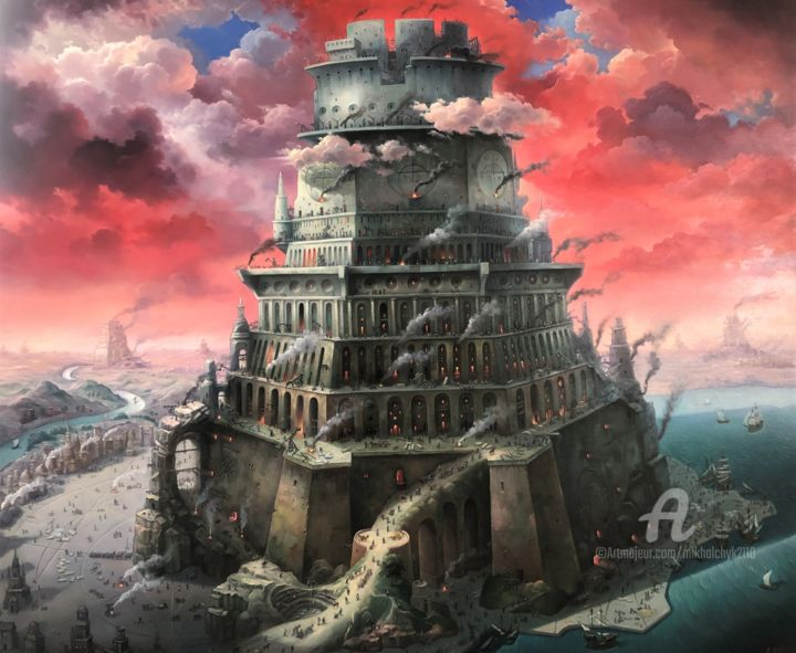 The Tower of Babel. Red. - Painting,  39.4x47.2x1.2 in, ©2020 by Александр Михальчук -                                                                                                                                                                                                                                                                                                                                                                                                                                                                                                                                                                                          Surrealism, surrealism-627, Architecture, Mountainscape, Cities, World Culture, Religion, Architecture, The mountains, Scenery., Myths Religion, Sky
