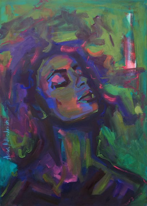"""Painting titled """"I CAN BE A WITCH"""" by Anna Miklashevich, Original Art, Oil Mounted on Stretcher frame"""