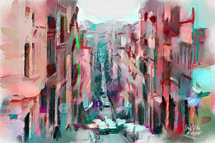 """Painting titled """"Street view"""" by Miklos Szigeti, Original Art, Watercolor"""