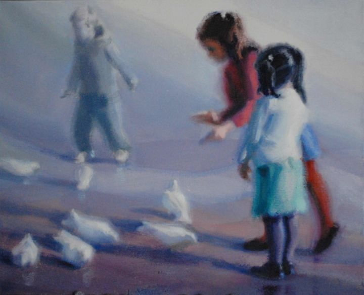 Nin as y palomas - Painting, ©2014 by Milagros Ferrer -                                                                                                                                                                          Figurative, figurative-594, Huile sur toile