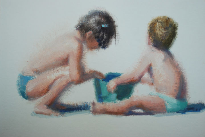 ninos playa - Painting, ©2014 by Milagros Ferrer -                                                                                                                                                                          Figurative, figurative-594, Huile sur toile