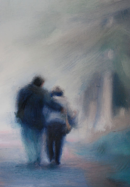 Pareja - Painting, ©2014 by Milagros Ferrer -                                                                                                                                                                          Figurative, figurative-594, Huile sur toile