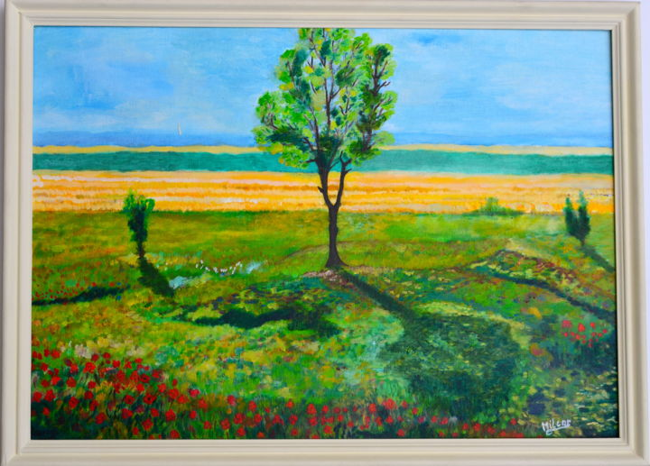 Les coquelicots - Painting,  41x33 cm ©2005 by François Milcar -                                                        Impressionism, Other, Tree