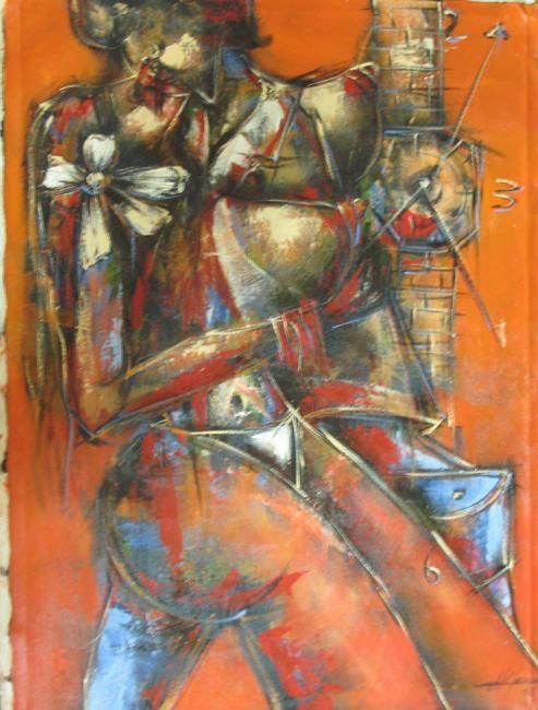 """Painting titled """"BESO DEL AMANTE"""" by Mildor Chevalier, Original Art, Oil"""