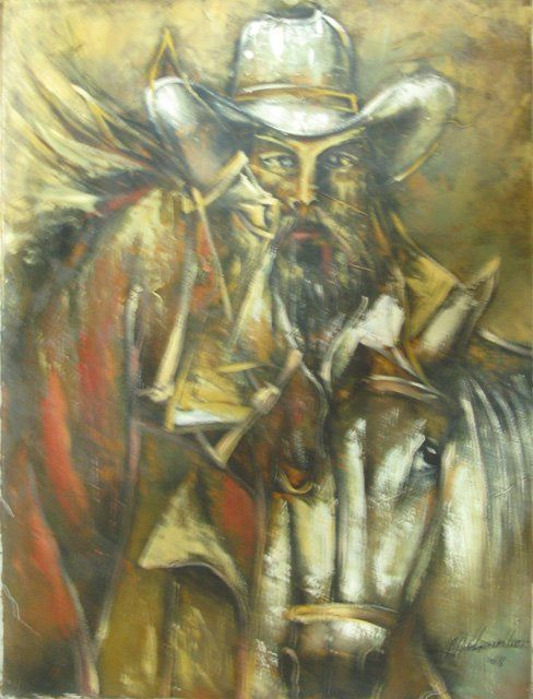 """Painting titled """"CON MIS CABALLOS"""" by Mildor Chevalier, Original Art, Oil"""