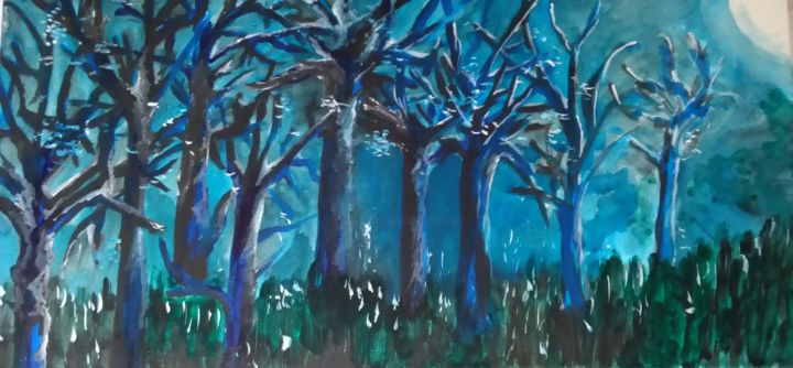 Notturno 2 - Painting,  30x60 cm ©2018 by Milena Aere -                        Canvas
