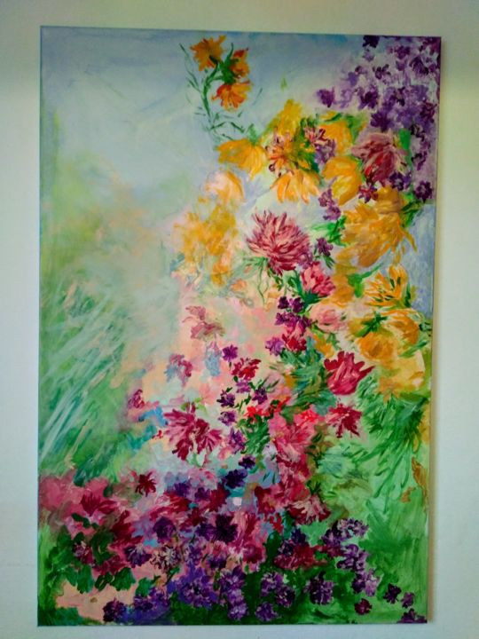 Fiori in cielo - Painting,  120x70 cm ©2018 by Milena Aere -                        Canvas