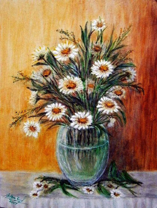 Daisy In A Vase Painting By Milka Urban 237 Kov 225 Artmajeur