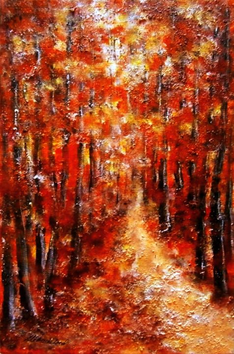 """Painting titled """"In the red woods 1.."""" by Milka Urbaníková, Original Art, Acrylic"""