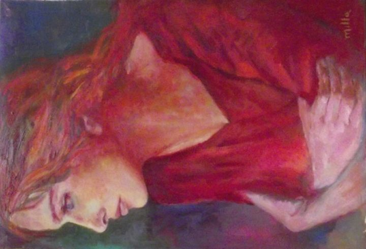 la-donna-in-rosso.jpg - Painting,  60x2x40 cm ©2013 by Milla -                            Abstract Expressionism, ritratto, figura