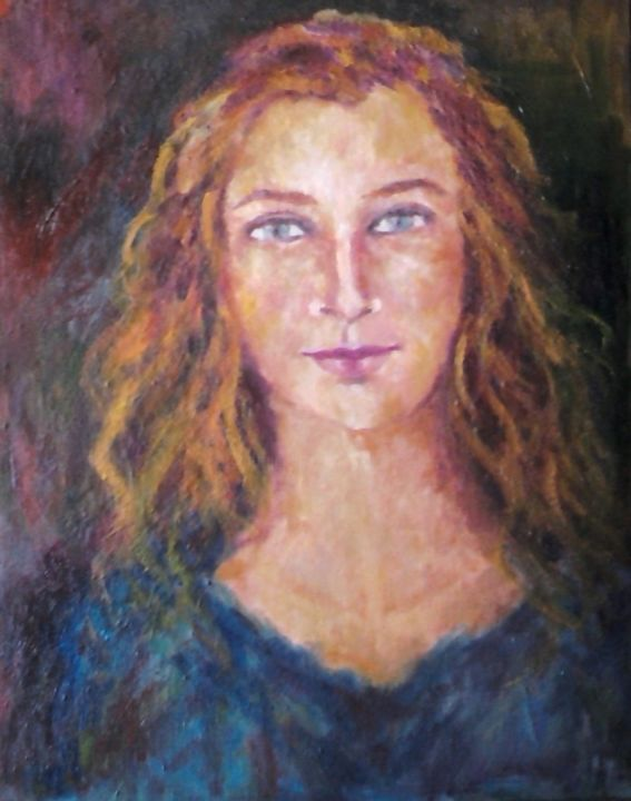 simona1.jpg - Painting,  40x2x30 cm ©2013 by Milla -                            Abstract Expressionism, ritatto, figura
