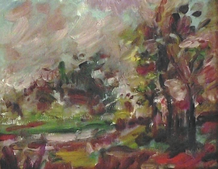 in-the-countryside.jpg - Painting,  18x2x20 cm ©2014 by Milla -                                                            Abstract Expressionism, Canvas, Landscape, paesaggio, espressionismo astratto, abstract, milla