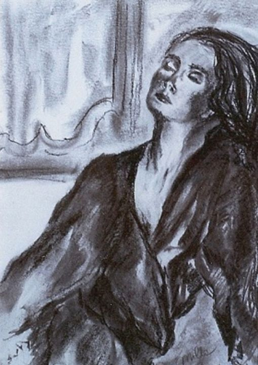 the-wait.jpg - Drawing,  15.8x11.8 in, ©2014 by Milla -                                                                                                                                                                                                                                                                                                                                                              Expressionism, expressionism-591, Women, carboncino, disegno, espressionismo, milla