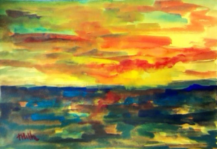 giallo.jpg - Painting, ©2014 by Milla -                                                                                                                                                                                                                                                                                                                                                              Expressionism, expressionism-591, Seascape, gouache, carta, espressionismo.tramonto, milla