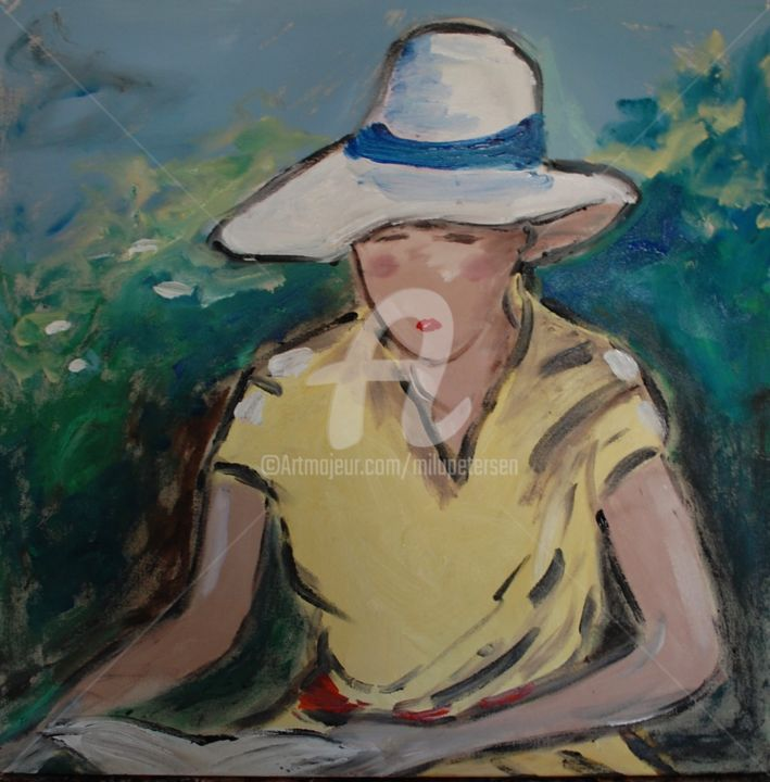 """Painting titled """"reading a book"""" by Milu Petersen, Original Art, Acrylic"""