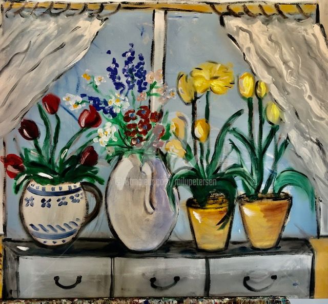 """Painting titled """"window with flowers"""" by Milu Petersen, Original Art, Acrylic"""