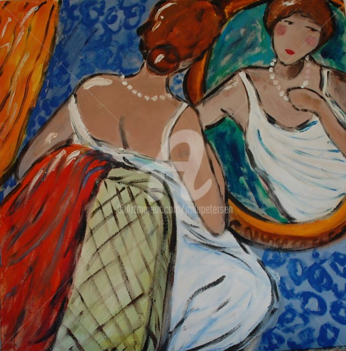 """Painting titled """"woman and mirror"""" by Milu Petersen, Original Art, Acrylic"""