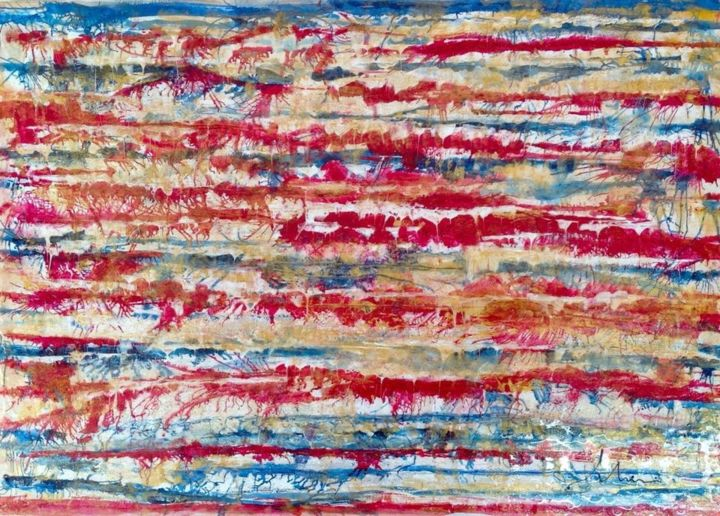 Abstract Contemporary -  red and gold texturized stripes - Pintura,  39,4x59,1x1,6 in, ©2019 por Mimi Bastos Art Mbart® -                                                                                                                          Abstract, abstract-570