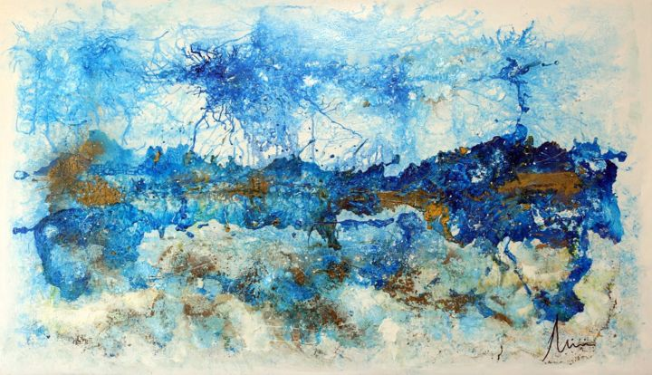 Gold over Blue - Pintura,  35,4x61 in, ©2020 por Mimi Bastos Art Mbart® -                                                                                                                          Abstract, abstract-570