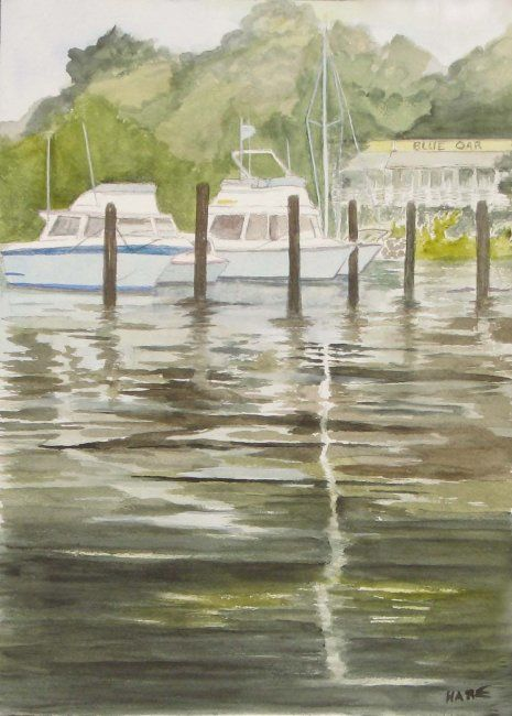"""Painting titled """"Boats Moored at the…"""" by Carol Hare, Original Art,"""