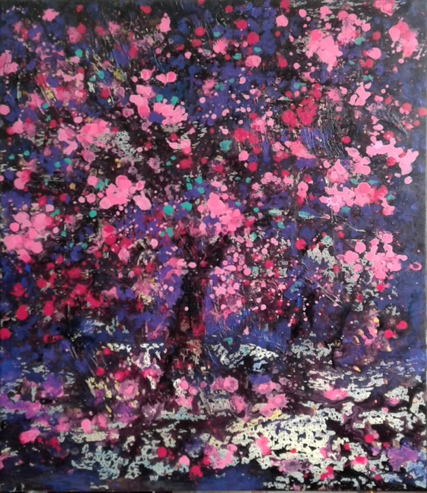 """Painting titled """"cherry blooms5"""" by Minh Phuong Hoang Thi, Original Art, Acrylic"""