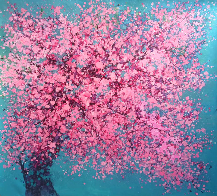 """Painting titled """"Cherry blossoms blo…"""" by Minh Phuong Hoang Thi, Original Art, Acrylic"""