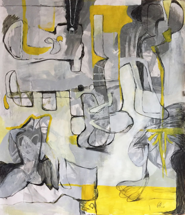 """Painting titled """"Abstraction in Yell…"""" by Michael Ioffe, Original Art,"""