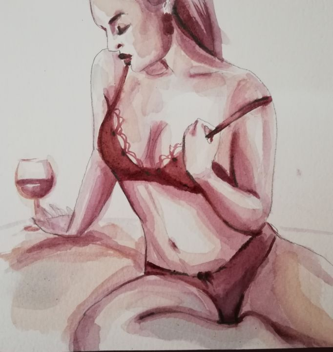 """Painting titled """"Just A Girl"""" by Mira Kovacevic (Wine Artist), Original Art, Watercolor"""