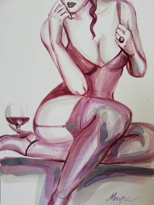 """Painting titled """"Glass Of Wine"""" by Mira Kovacevic (Wine Artist), Original Art, Watercolor"""