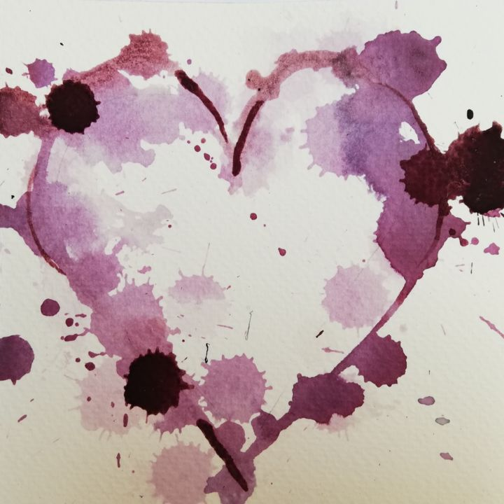 """Painting titled """"Wine Heart"""" by Mira Kovacevic (Wine Artist), Original Art, Watercolor"""