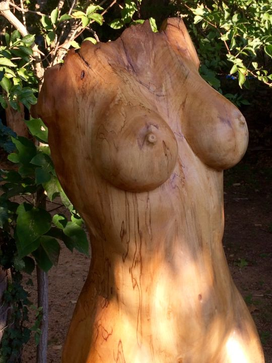 nymphezoom.jpg - Sculpture,  78.7x19.7x15.8 in, ©2015 by Mirèo -                                                                                                                                                                                                                                                                                                                                                                                                                                                          Figurative, figurative-594, Wood, Body, corps nu sculpture, woodcarving, mireille corfu vanson, corps femme bois, mireo