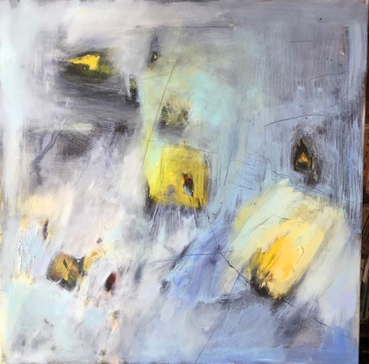 VERS LA LIBERTE - Painting,  27.6x27.6 in, ©2016 by mireille matricon -                                                                                                                          Abstract, abstract-570