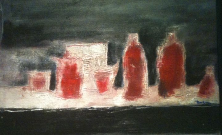 NATURE MORTE ROUGE - Painting,  50x30 cm ©2004 by mireille matricon -                        Canvas