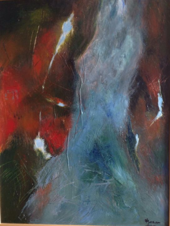 FUEGO - Painting,  70x55 cm ©2012 by mireille matricon -                        Paper